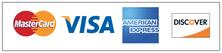 Buttons for visa, mastercard, american express and discover cards that customer takes