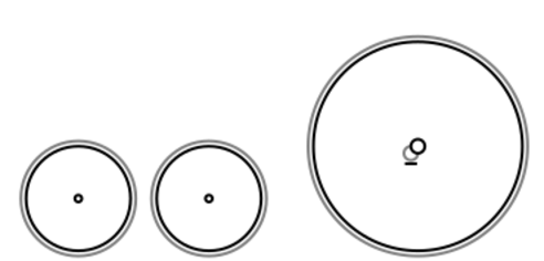 A diagram of the 4-2-0 Wheel Arrangement depicting two small leading wheels and a single large driving wheel. Front of the locomotive is at left.