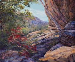 Sanctuary From the Sun, pastel landscape painting of Guadalupe National Park by Lindy C Severns