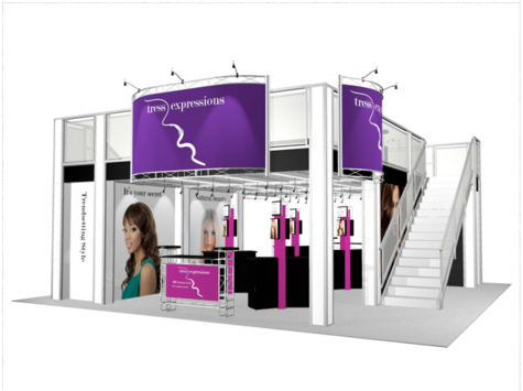 Two story 30 x 30 trade show exhibit front view.