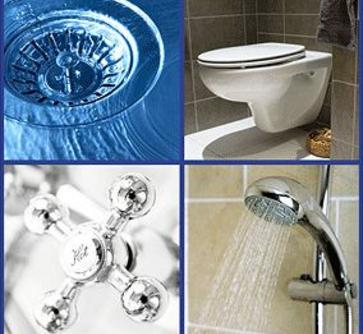 plumbing collage, sink drain, toilet, faucet handle and shower head spraying water