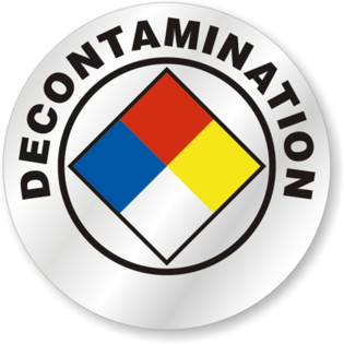 Decontamination sign representing our disinfecting C Diff Decontamination Cleanup services in Jacksonville, FL
