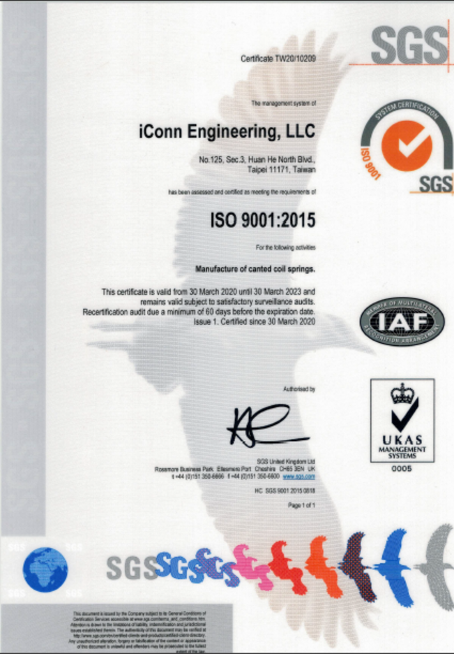 iConn Engineering is ISO 9001 certified for canted coil spring products.