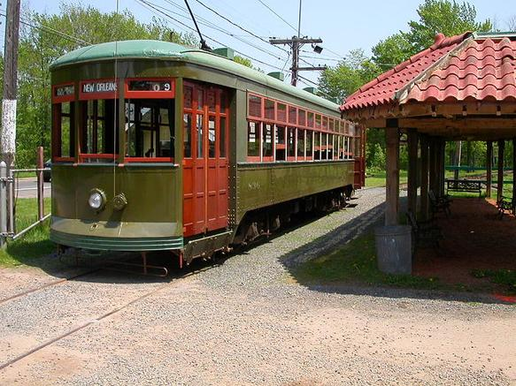 New Orleans Car 836 at the Connecticut Trolley Museum, May 2004.