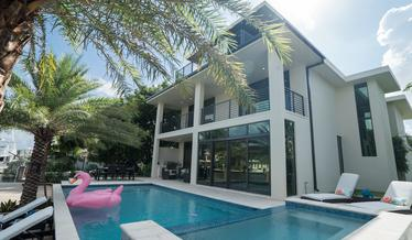Pool and Balcony of a Modern Contemporary Custom Built Home in South Florida