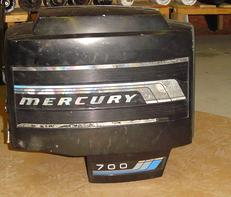 Used clam shell hood or cowling for a 70 hp 1977 to 1983 Mercury outboard motor. 2142-6228A1 Starboard 2141-6227A1 Port