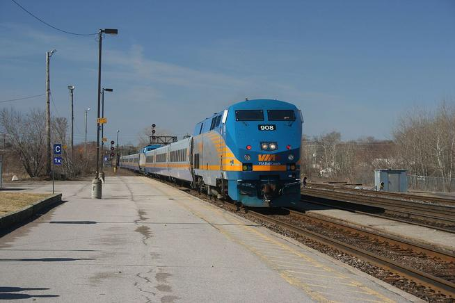VIA Rail trains 42 and 56 arriving in Belleville from Toronto. 42 is leading, 56 is behind the second locomotive.