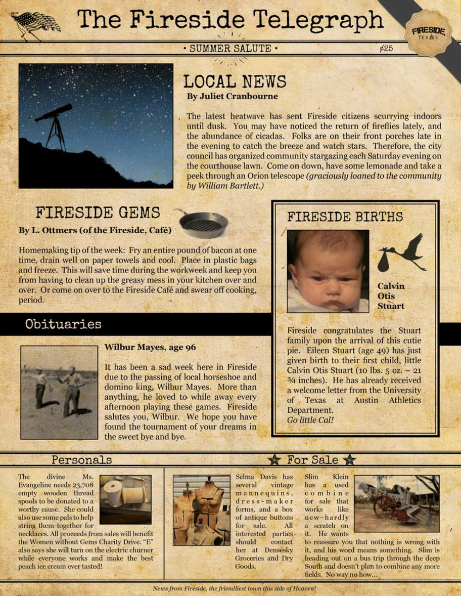Summer 2002 issue of the Fireside Telegraph, a fictional newspaper