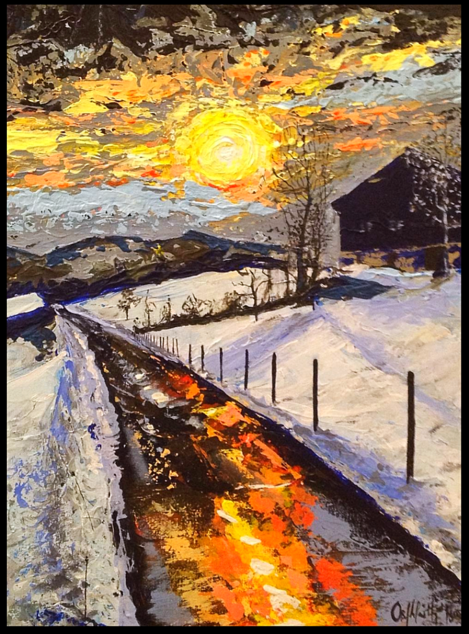 Winter Sun original representational landscape painting, private collection. Austrian mountain landscape painting by Irish artist Orfhlaith Egan.