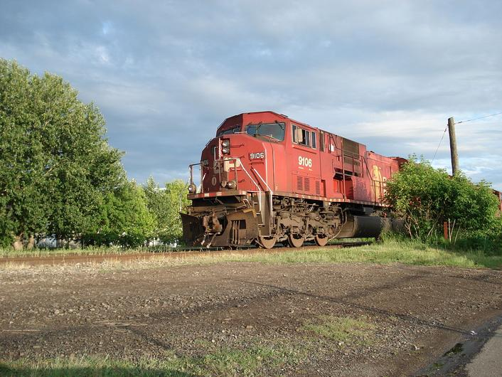 CP Rail SD9043MAC locomotive No. 9106 in Thunder Bay, Ontario, Canada.