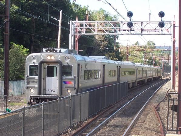 New Jersey Transit Comet V No. 6057 leads Train #6648 into Morristown. Note the other three Comet V's in the set.