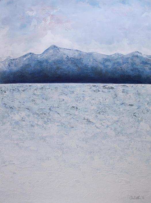 Blue Mountain original acrylic painting, re-imagined landscape, private collection California. Irish artist Orfhlaith Egan. Berin Gallery & Studio.