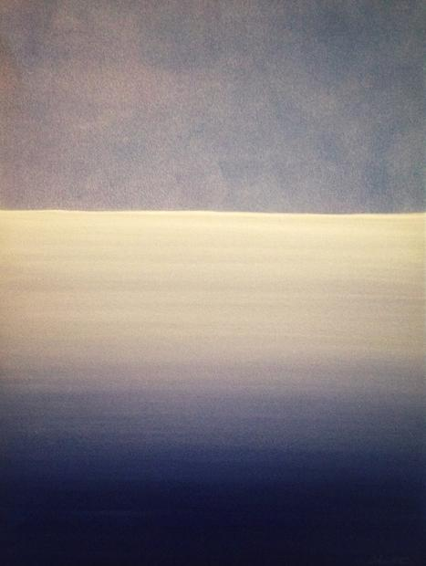 The Sea, The Sky. 2018. 50x40cm. Acrylic paint on canvas, varnished and framed, ready to hang. Minimal abstract painting in blue by Irish artist Orfhlaith Egan. Art for sale.
