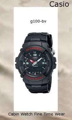 Watch Information Brand, Seller, or Collection Name Casio Model number G100-1BV Part Number G100-1BV Model Year 2015 Item Shape Round Dial window material type Mineral Display Type Analog-Digital Clasp Buckle Metal stamp no-metal-stamp Case material Resin Case diameter 47.8 millimeters Case Thickness 49.6 millimeters Band Material Resin Band length Mens Standard Band width 15.7 millimeters Band Color Black Dial color Black Bezel material Resin Bezel function Stationary Calendar Day Date And Month Special features alarm, Dual time display Item weight 8 Ounces Movement Quartz Water resistant depth 660 Feet
