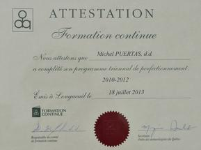 Diplome Formation Continue Michel Puertas Denturologiste