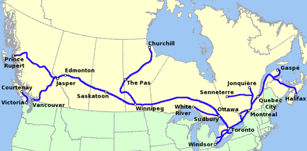 Route map of passenger trains that cross Canada.