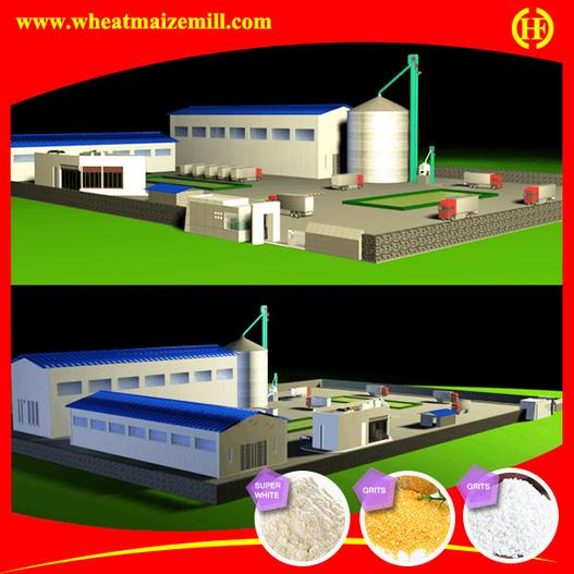 factory layout for 50 ton maize flour processing machine