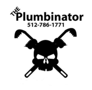The Plumbinator logo - a skull and crosswrenches with the business phone number