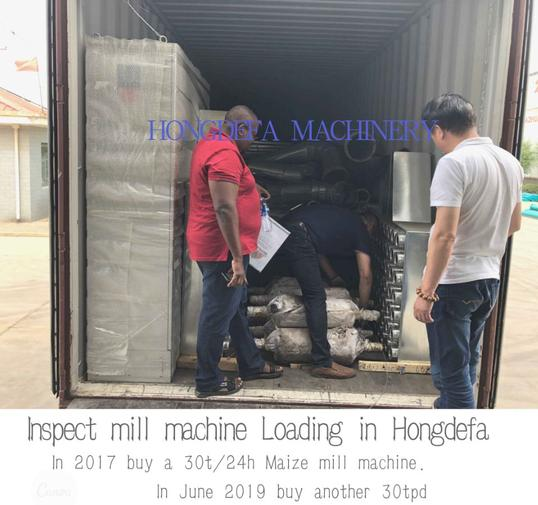 Kenya client inspecting flour mill loading in Hongdefa factory