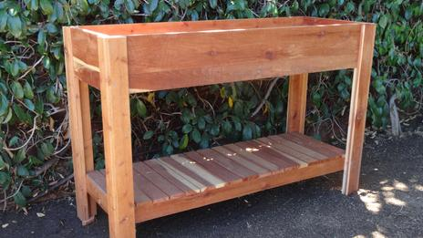 Redwood planter and storage