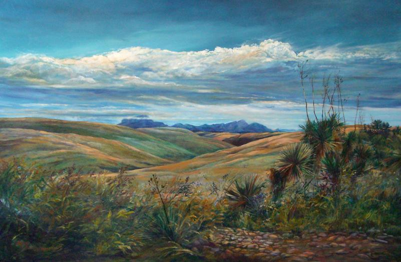 The Colors of Silence, oil landscape painting by Lindy Cook Severns. The Marfa Highlands and Chinati Peak