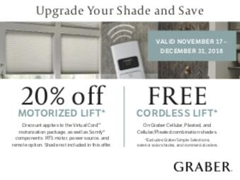 Graber sale, FREE cordless lift for shades PROMO