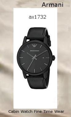 Emporio Armani Men's AR1732 Classic Black Stainless Steel Watch with Leather Band,armani