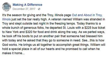 Making A Difference's FB post letting everyone know Mr. Bozman was on his way!