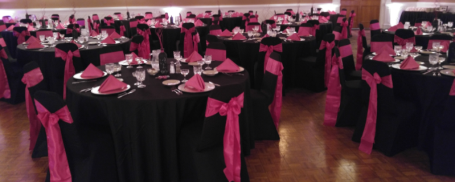 Black Satin Chair Covers and Pink Satin Bow Sashes
