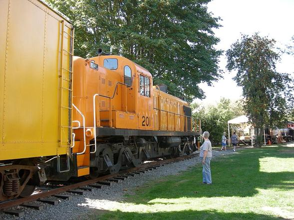 Kennecott Copper Corporation locomotive 201 on display at Snoqualmie Depot, Snoqualmie, Washington.