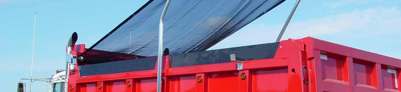 Swing arm tarp system with black mesh tarp and aluminum arms.