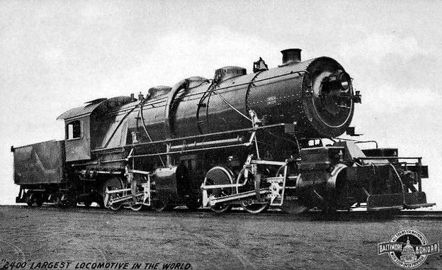 Postcard photo of Old Maude, the Baltimore and Ohio Railroad's mallet locomotive. At the time of the photo, it was the most powerful locomotive in the world and was the first mallet locomotive in the United States.