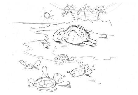 Tuamor the Turtle sketches for colouring in