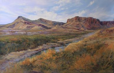 The River Road pastel landscape painting by Big Bend Artist Lindy Cook Severns
