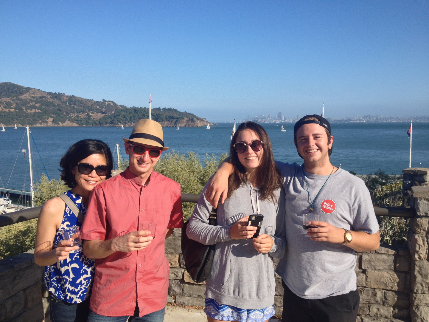 Friends Wine Tasting Along the Sausalito Waterfront
