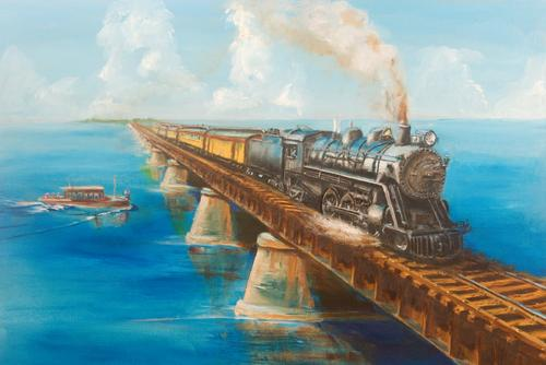 Florida keys railroad train steam locomotive bridge painting