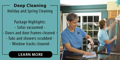 Two maids deep cleaning a home. Picture describes a deep house cleaning service. Spring cleaning. Holiday cleaning.