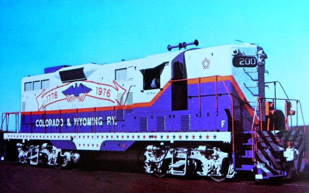 Colorado and Wyoming No. 200 in Bi-Centennial livery, ca. 1976.