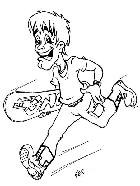 GoSnow! snowboarder cartoon character design original sketch winter olympics