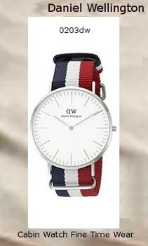 Product Specifications Watch Information Brand, Seller, or Collection Name Daniel Wellington Model number 0203DW Part Number DW00100017 Model Year 2014 Item Shape Round Dial window material type Mineral Display Type Analog Clasp Buckle Case material Stainless steel Case diameter 40 millimeters Case Thickness 6 millimeters Band Material Nylon Band length Men's Standard Band width 20 millimeters Band Color multi Dial color White Bezel material Stainless steel Bezel function Stationary Calendar Date Special features Water Resistant Item weight 2.40 Ounces Movement Quartz Water resistant depth 99 Feet,daniel wellington