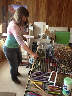Artist Lindy Cook Severns and her pastel palette and easel