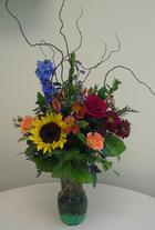 Sunflower, Delphinium, Rose, Daisy, Hypericum, Curly Willow