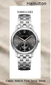 Watch Information Brand, Seller, or Collection Name Hamilton Model number H38411183 Part Number H38411183 Model Year 2011 Item Shape Round Dial window material type Anti reflective sapphire Display Type Analog Clasp Deployment Clasp Case material Stainless steel Case diameter 38 millimeters Case Thickness 10 millimeters Band Material Stainless steel Band length Women's Standard Band width 20 millimeters Band Color Silver Dial color Silver Bezel material Stainless steel Bezel function Stationary Calendar Date Item weight 4.80 Ounces Movement Battery Water resistant depth 165 Feet,hamilton watch