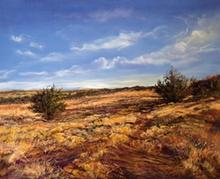 The high desert near Santa Fe in a 16 x20 pastel by Texas artist Lindy C Severns