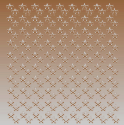 field of stars stamped on silvery coppery metal