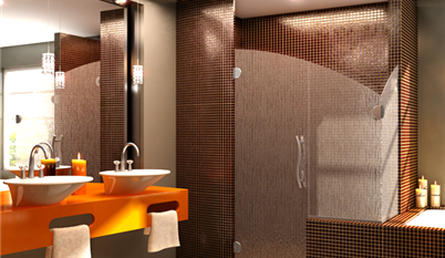 Photo of textured glass shower door with fixed panel