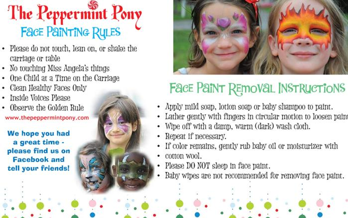 The Peppermint Pony Face Painting Rules Card