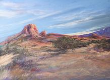 Large pastel study Sky Swept Texas, Casa Grande by Lindy C Severns