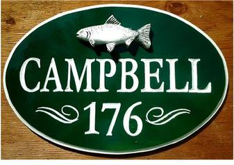 Oval carved sign, from customer in MA