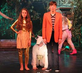Harp (Evie Brettell), Milky White (Joe Whittington) and Jack (Harrison Smith)